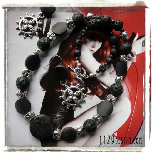 parure collana orecchini teschi tibetani pietra lavica skull