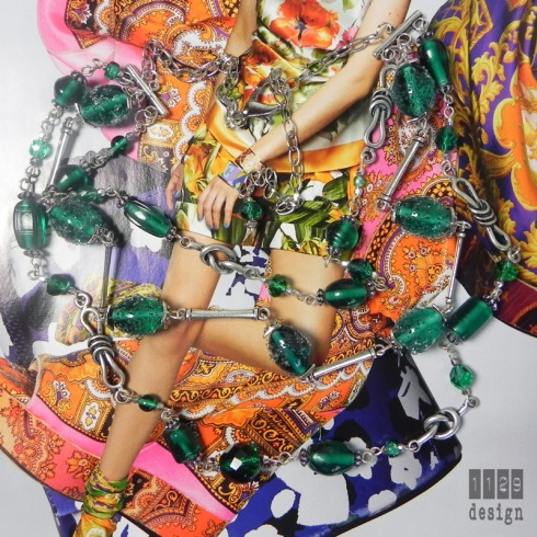 collana perle sugar e sfaccettate verde smeraldo nodi argento
