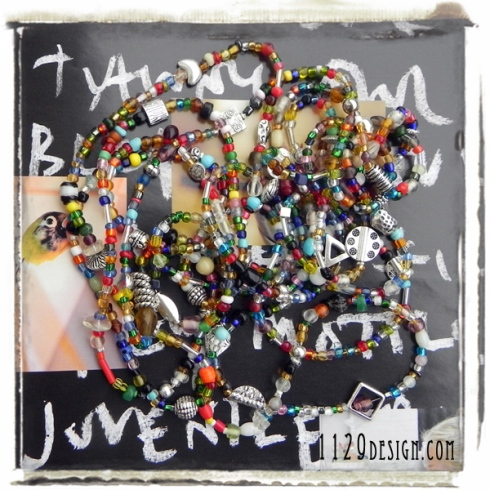 collane perline multicolori e argentini seed beads necklace 1129design