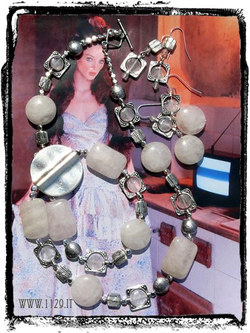 IDQURO collana lunga quarzo rosa argento
