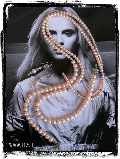 IEROSET collana perle rosa