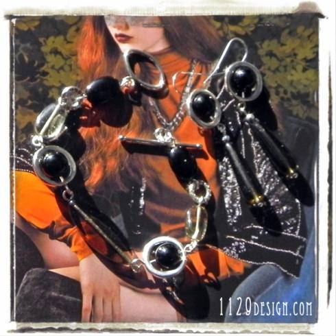 MAONIS parure bracciale orecchini onice vetro smoke diamond