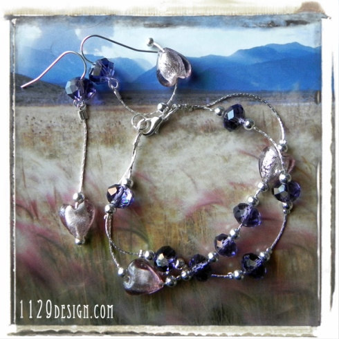 MAVICO-parure-bracciale-orecchini-sfaccettate-viola-cuori-foglia-argento