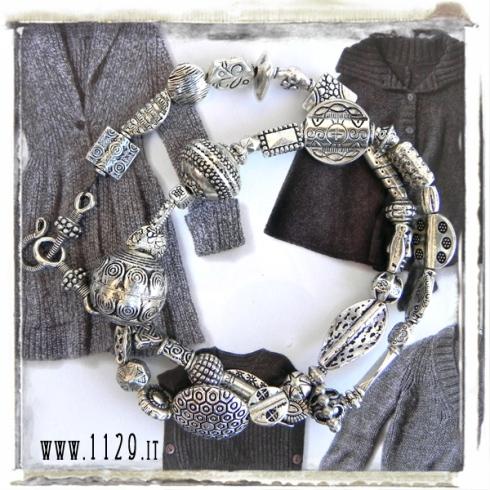 MAFUSI collana argento tibetano silver funky mix necklace 1129design 50 cm