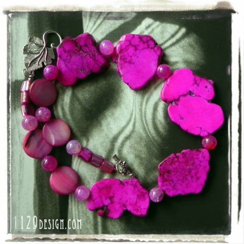 MBTURO collana agata turchese fucsia pink agate turquoise fan necklace
