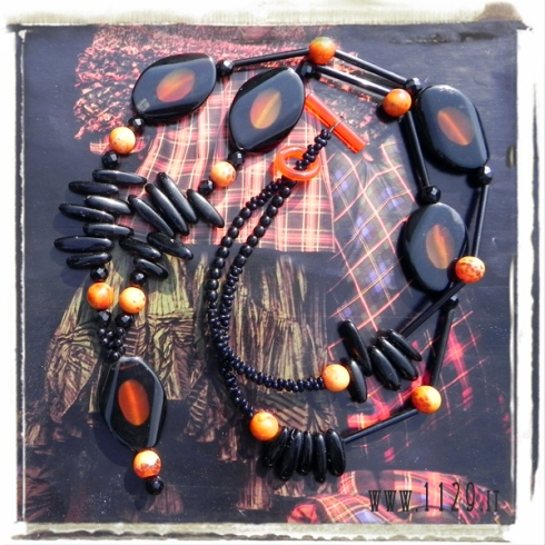 MBARNE collana agata onice arancio nera pietre dure agate onyx unique gemstone fashion necklace 1129 83+5cm