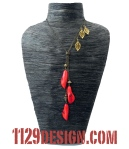 MBCALL collana bronzo calle turchese rosso red turquoise flower bronze necklace 1129design indossata