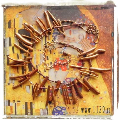 MBCODO collana corallo oro legno vetro golden coral necklace 1129design