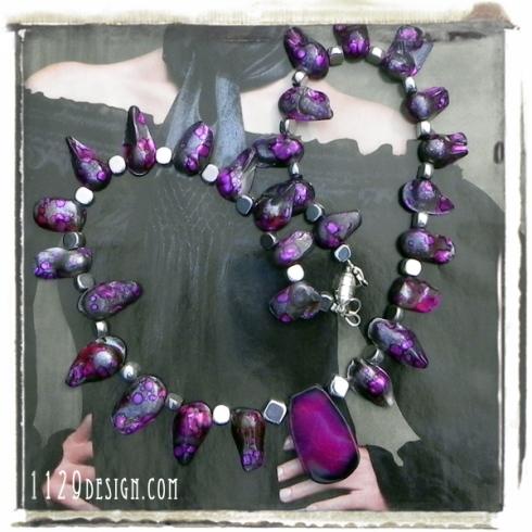 blomming-collana-perle-conchiglia-grigio-viola-agata-fresh-shell pearl-agate-necklace-1129design