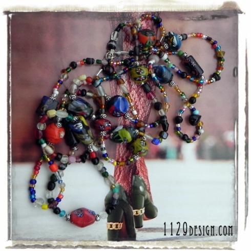 MCCHAR collana stile chanel perline vetro indiano many colours charleston fashion necklace 1129