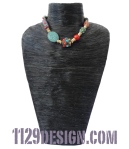 MFLTKA girocollo pietra lavica corallo kashmir legno kashmiri new ethnic necklace indossata