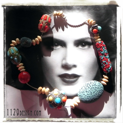 MFLTKA girocollo pietra lavica corallo kashmir legno kashmiri new ethno necklace 43cm