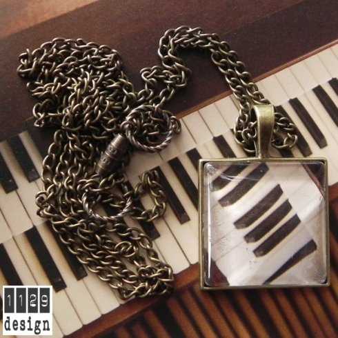 PIANO 02 collana bronzo pendente quadrato organo tasti piano bronze necklace 1129design