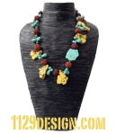 NBBLUO collana turchese giallo azzurro bronzo chunky blue yellow turquoise necklace 1129 indossata